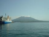港から見た桜島